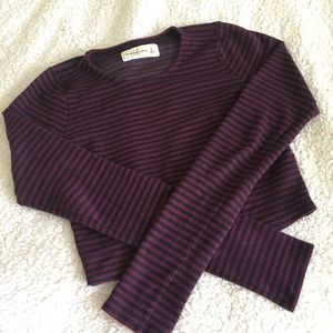 Maroon and navy striped long sleeve crop top